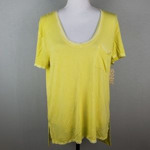 Free People Yellow Oversize Hi Low Short Sleeve